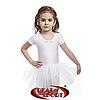 Детский купальник для танцев с юбочкой и без рукавов, белый