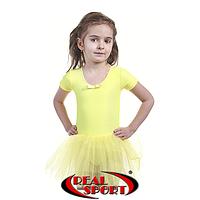 Детский купальник для танцев с юбочкой и без рукавов, желтый, фото 1