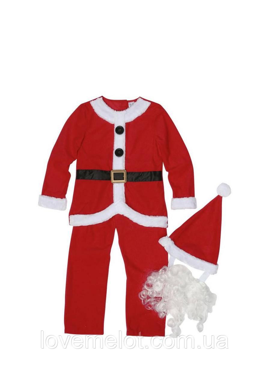 Костюм карнавальный для мальчика, новогодний Дед Мороз Санта-Клаус с колпаком и борода 98 104 116 см