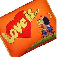 Подушка Love is оранжевая