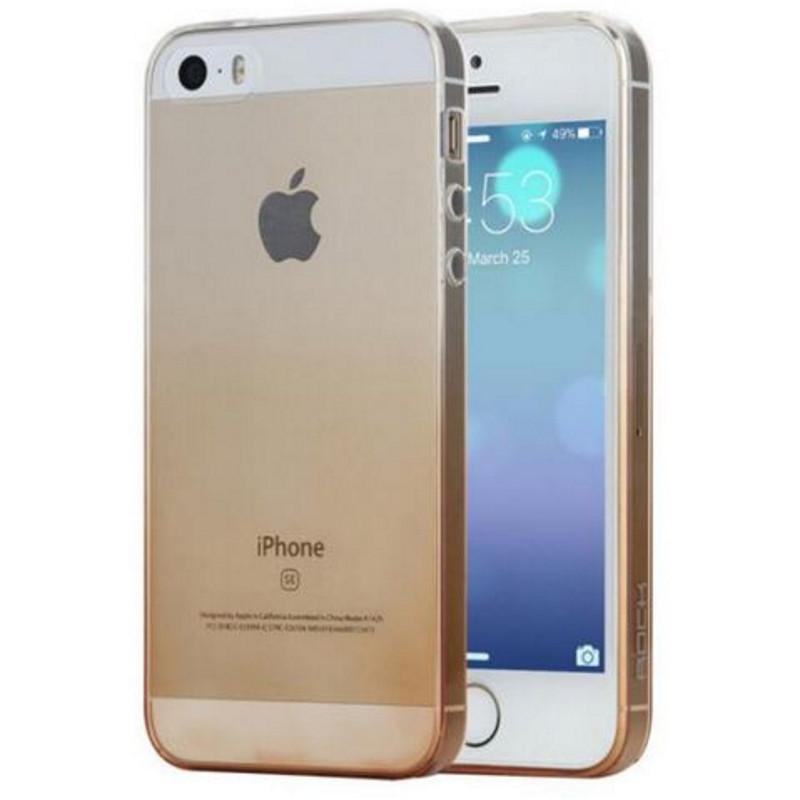 Чехол накладка ROCK для iPhone 5 / 5S / SE Iris ser. TPU Золотистый / прозрачный