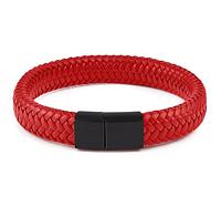 Мужской кожаный браслет Primo Rock Lux 20.5 - Red