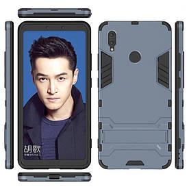 Чехол накладка для Huawei Honor Note 10 противоударный силиконовый с пластиком, Alien, темно-синий