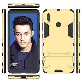 Чехол накладка для Huawei Honor Note 10 противоударный силиконовый с пластиком, Alien, золотистый