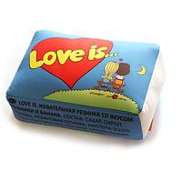 Подушка Love is голубая , оригинальный подарок на День Влюбленных