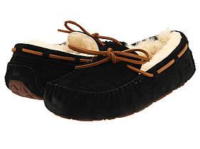Женские зимние мокасины угги, UGG Dakota Slipper Black/Brown черные на меху (Топ реплика ААА+)