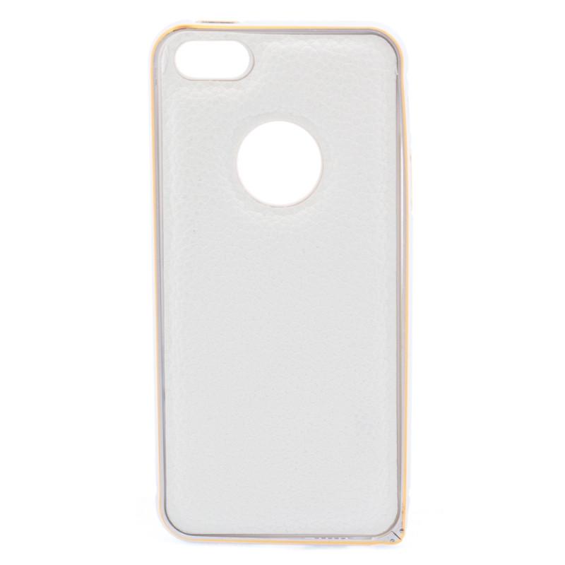 Чохол-бампер для iPhone 5/5S/SE з шкіряною вставкою Білий