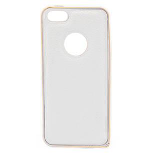 Чохол-бампер для iPhone 5/5S/SE з шкіряною вставкою Білий, фото 2
