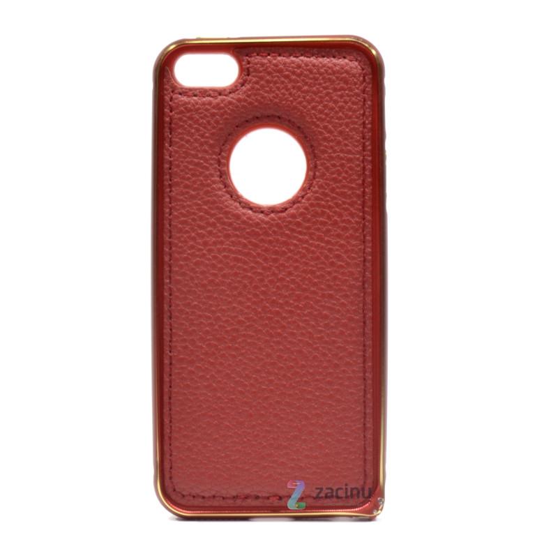 Чехол бампер для iPhone 5 / 5S / SE с кожаной вставкой Красный (298161)