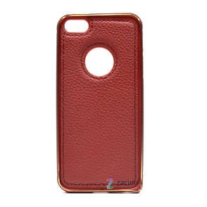 Чехол бампер для iPhone 5 / 5S / SE с кожаной вставкой Красный (298161), фото 2