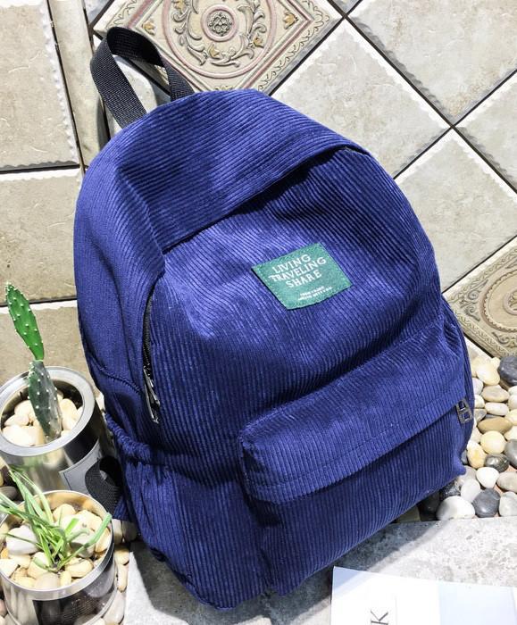 Рюкзак женский вельветовый LUYISABER школьный Синий