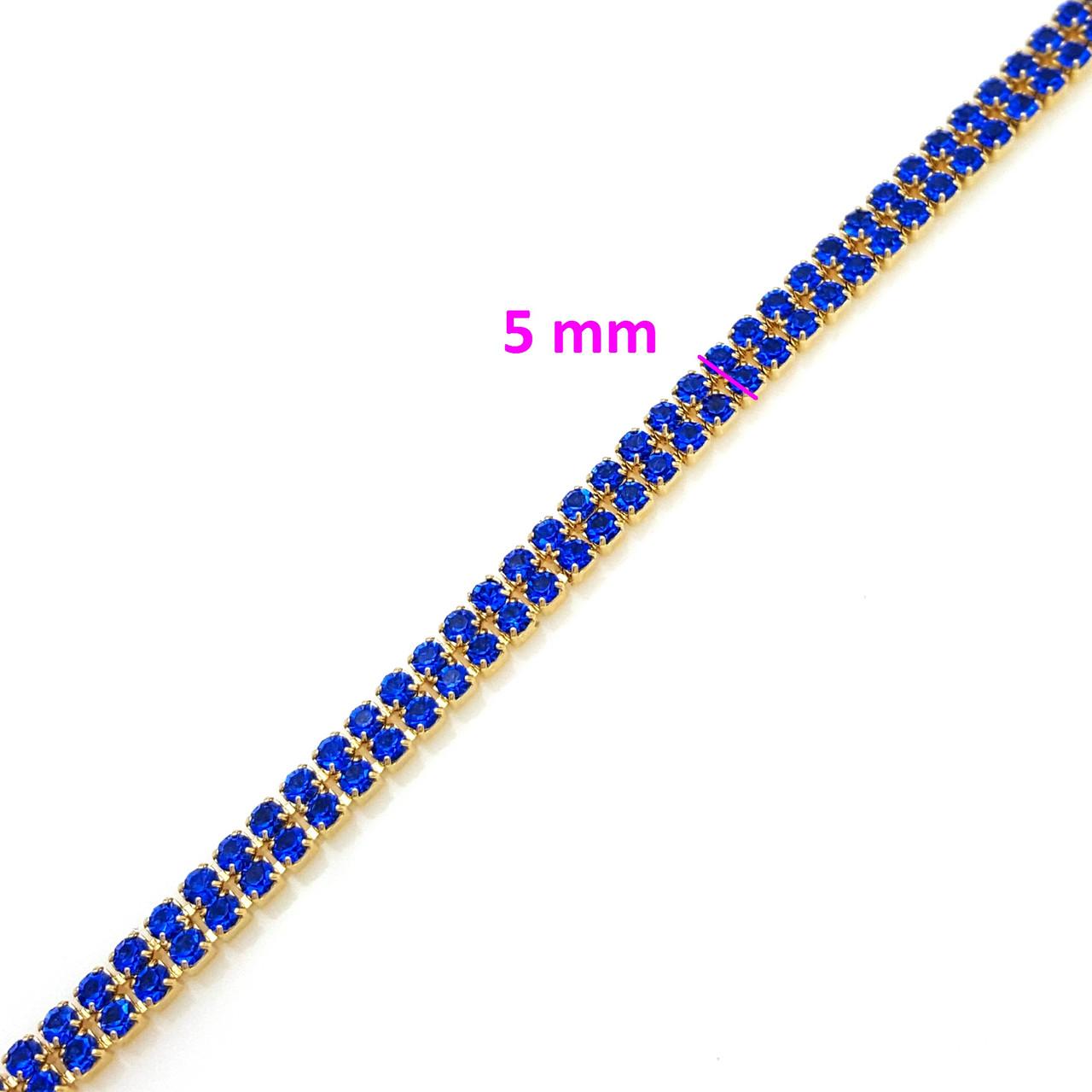 Браслет дві Доріжки, з синім цирконієм, р. 17,5, р. 19,5, позолота, 18К