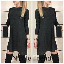 Демисезонное платье мини свободного кроя длинный рукав ангора бордовое, фото 3