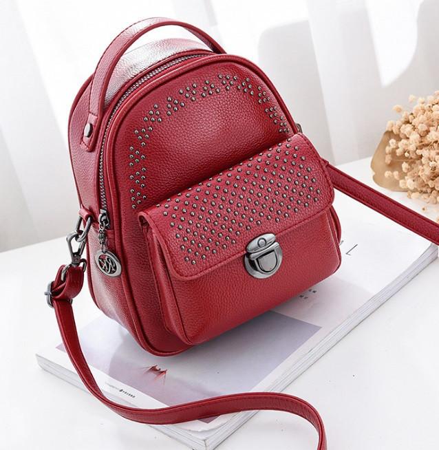 Рюкзак женский кожзам мини сумка ENLIAN Красный