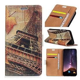 Чехол книжка для Samsung Galaxy J6 Plus J610F боковой с отсеком для визиток, Эйфелева башня и листья