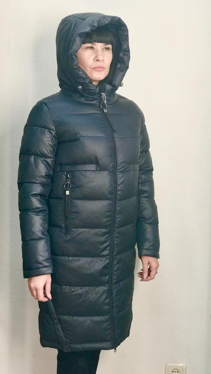 Пуховик пальто жіночий зимовий Finebabycat стьобаний на блискавці з капюшоном темно-синій стильний молодіжний