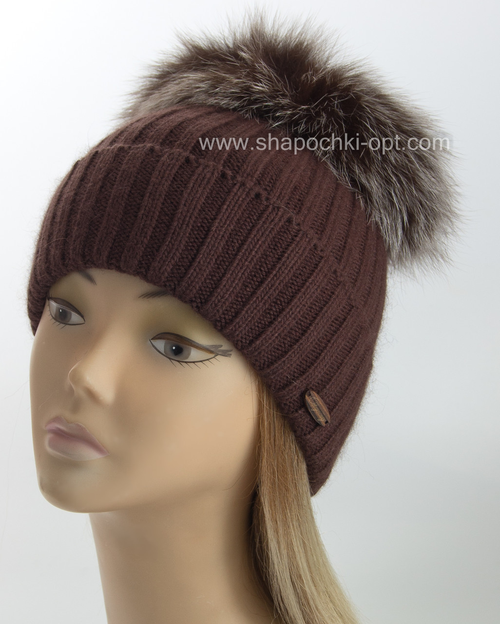 красивая вязаная шапка эскимо шоколадного цвета продажа цена в