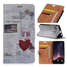 Чехол книжка для Samsung Galaxy J6 Plus J610F боковой с отсеком для визиток, USA cat