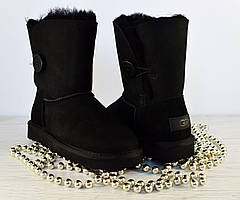 ✅ Угги женские Ugg Bailey Button Black  Australia   Угги черные короткие с пуговицей Бали Буттон