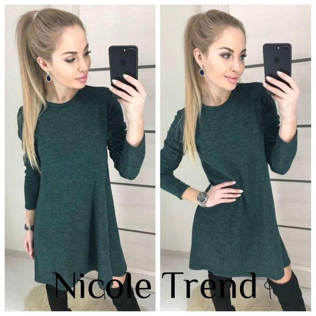 Весеннее платье мини свободного кроя длинный рукав темно зелёное