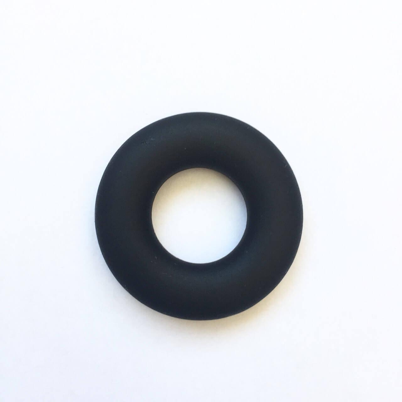 Колечко бублик (черное ) 43мм, бусины из пищевого силикона