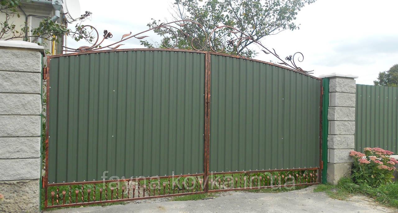 Ворота закрытые профнастилом 5750 , фото 1