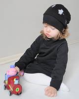 Черная хлопковая шапочка в листики, на ребенка. Все размеры в наличии, фото 1