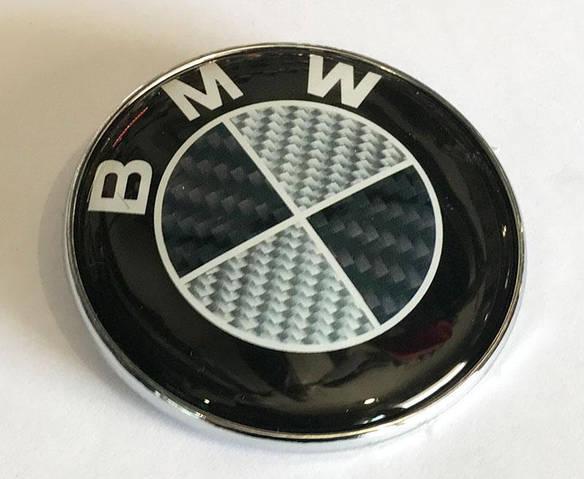 Эмблема BMW 78мм (между штырями 55.5мм) задняя карбон (51148203864с)