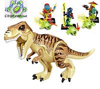 Динозавр Тирекс большой и 3 человечка лего-ниндзяго аналог Лего  Длина 28 см. Конструктор динозавр, фото 1