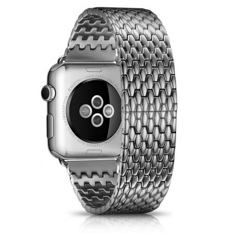 Ремінець Icarer для Apple iWatch 42mm Armor Stainless Watchband ser. Сріблястий
