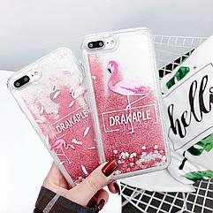 "Чехол накладка силикон ""Блестки Фламинго"" для iPhone 7/8"