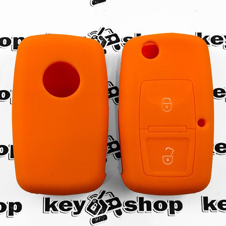 Чохол (оранжевий, силіконовий) для выкидного ключа Seat (Сеат) 2 кнопки