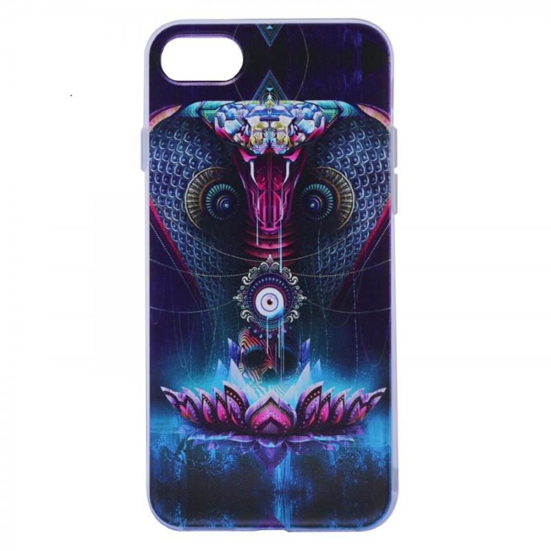 """Чехол накладка для iPhone 7 (4.7 """") Космические животные ser. TPU Прозрачный / Кобра"""