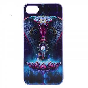 """Чехол накладка для iPhone 7 (4.7 """") Космические животные ser. TPU Прозрачный / Кобра, фото 2"""