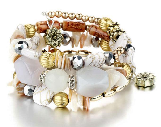Женский браслет-пружина Primo Stone Cuff - White