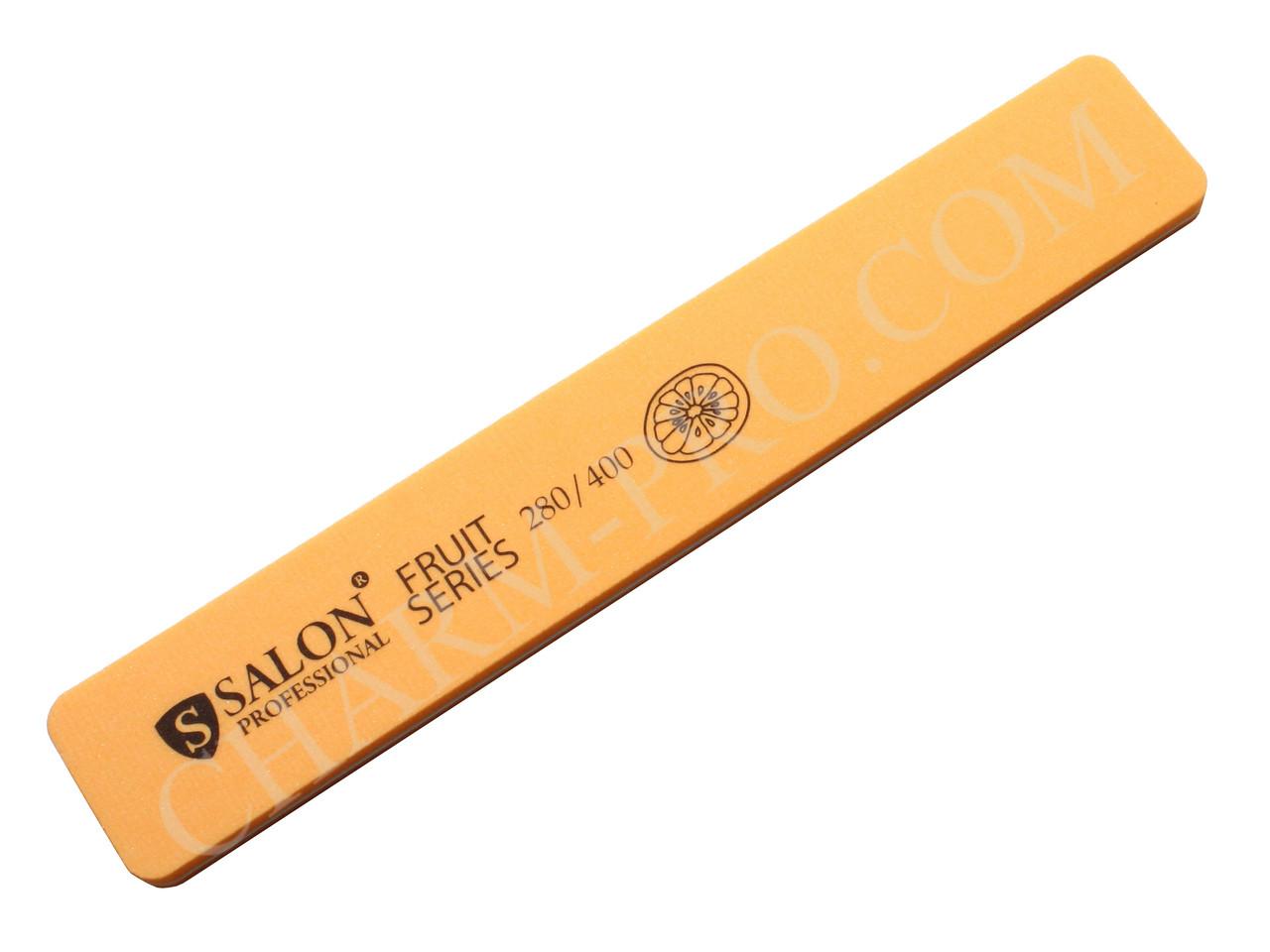 Пилочка прямая широкая для шлифовки Salon Professional Fruit Series 280/400 grit (Orange)