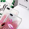 "Чехол накладка силикон ""Блестки Фламинго"" для iPhone X/XS, фото 5"