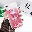 "Чехол накладка силикон ""Блестки Фламинго"" для iPhone X/XS, фото 2"