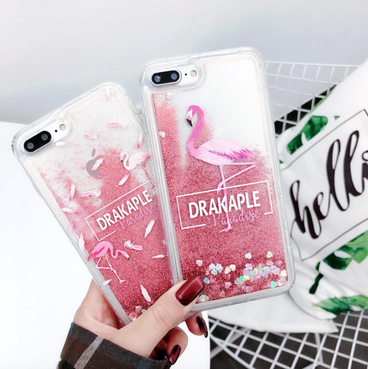 """Чехол накладка силикон """"Блестки Фламинго"""" для iPhone X/XS"""