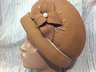 шляпа с дутыми  полями бежевая с цветочной композицией с подкладом