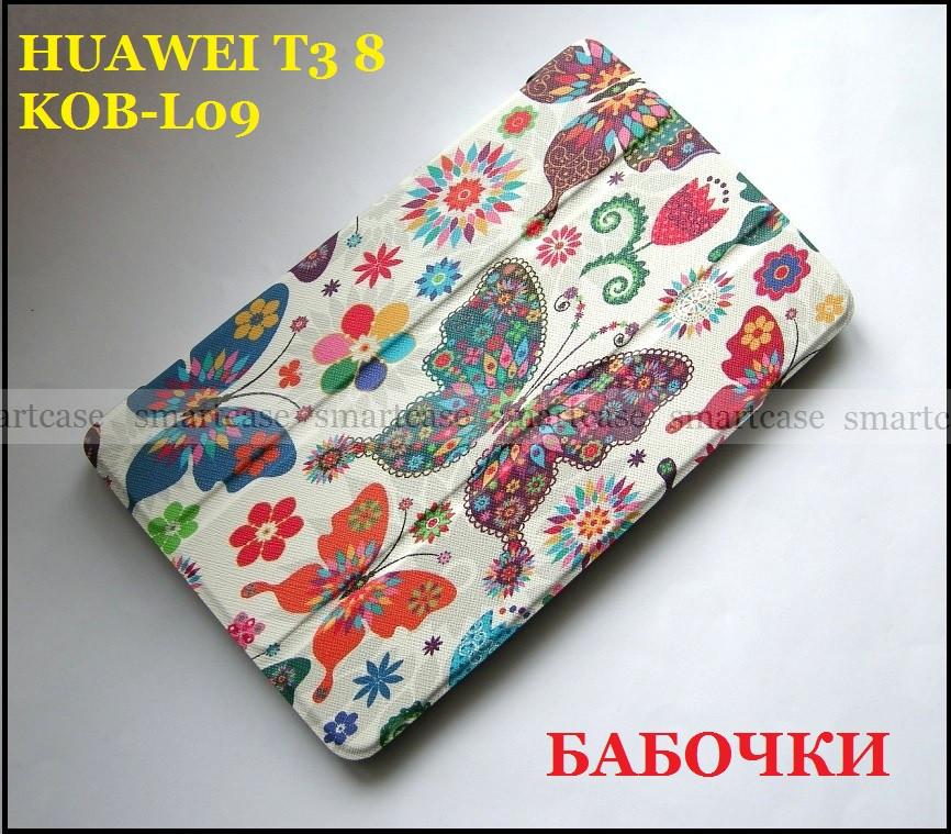 Цветные бабочки женский чехол Huawei T3 8 KOB-L09, чехол книжка TFC Butterflies