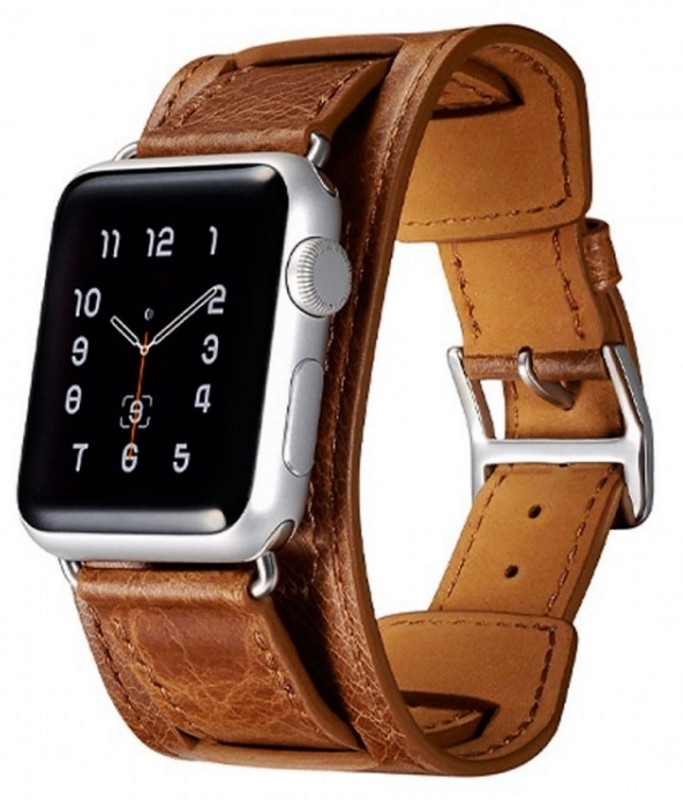 Ремешок Icarer для Apple iWatch 42mm Classic Genuine Leather ser. Светло-коричневый