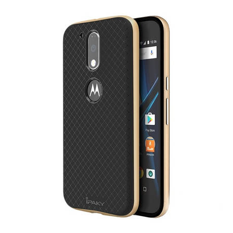 Чохол-накладка iPaky для Motorola Moto G4/ G4 Plus TPU+PC Чорний/золотистий(310337), фото 2