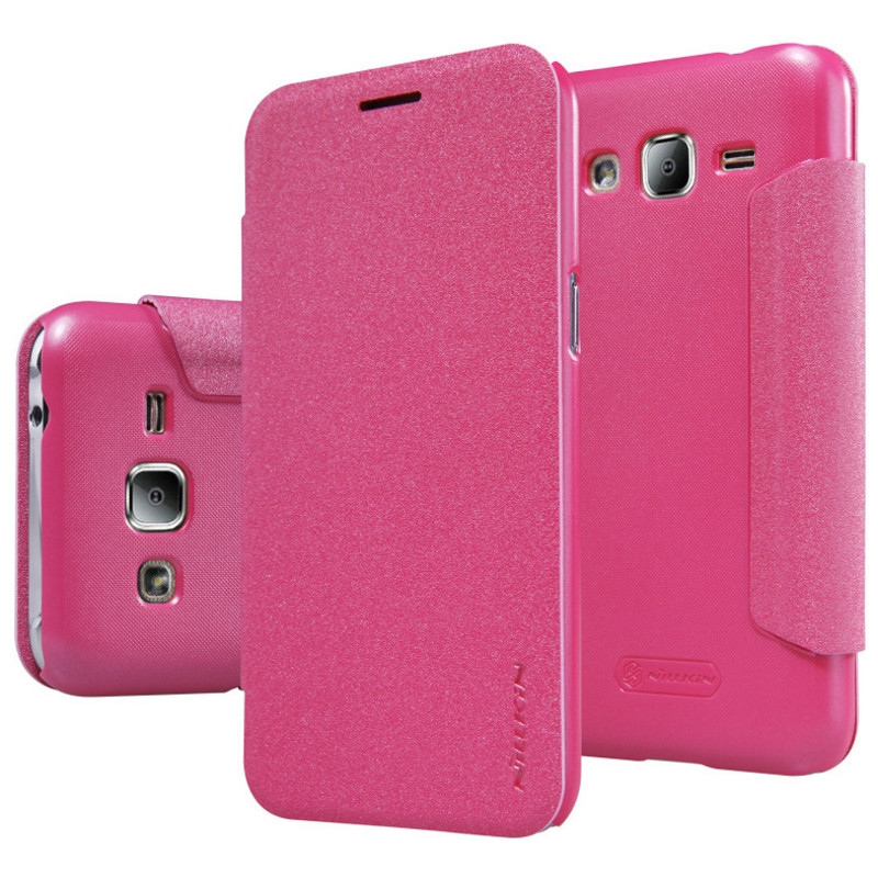 Чехол книжка Nillkin для Samsung J200H J2 Duos Sparkle ser. розовый