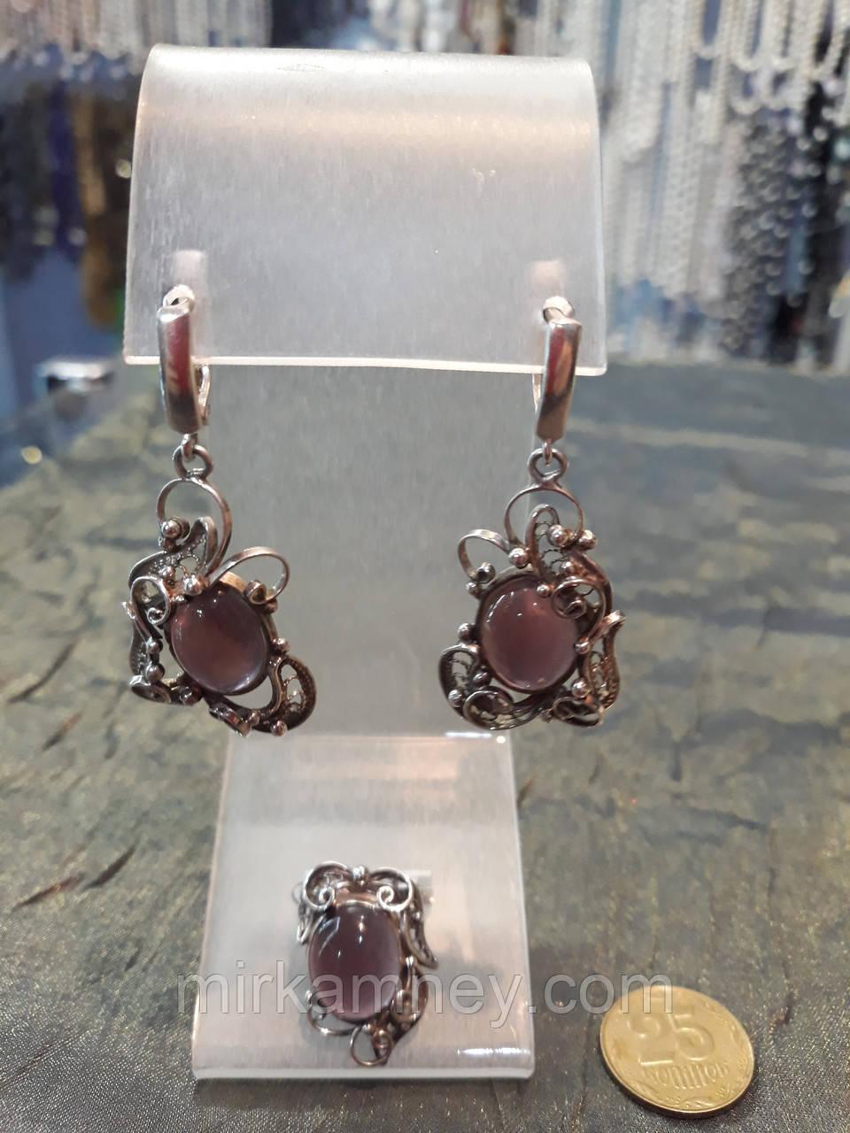 Шикарный серебряный комплект ручной работы серьги и кольцо с камнем турмалин