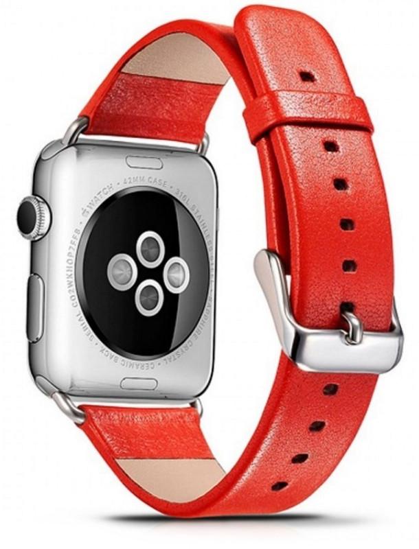 Ремінець Icarer для Apple iWatch 38mm Luxury Genuine Leather ser. Червоний(992858)