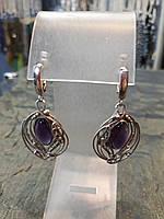 Эксклюзивные серьги турмалин (аметист) серебро 925, фото 1