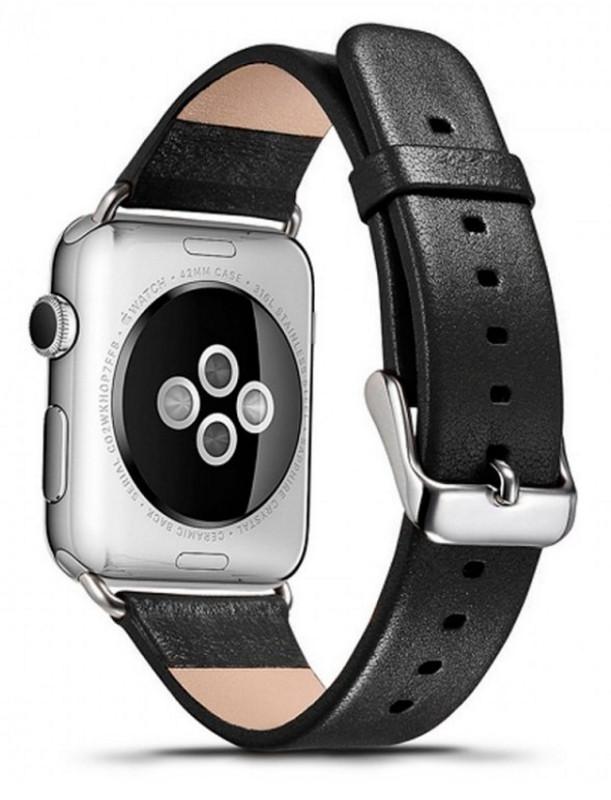Ремінець Icarer для Apple iWatch 38mm Luxury Genuine Leather ser. Чорний