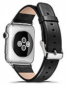 Ремешок Icarer для Apple iWatch 38mm Luxury Genuine Leather ser. черный