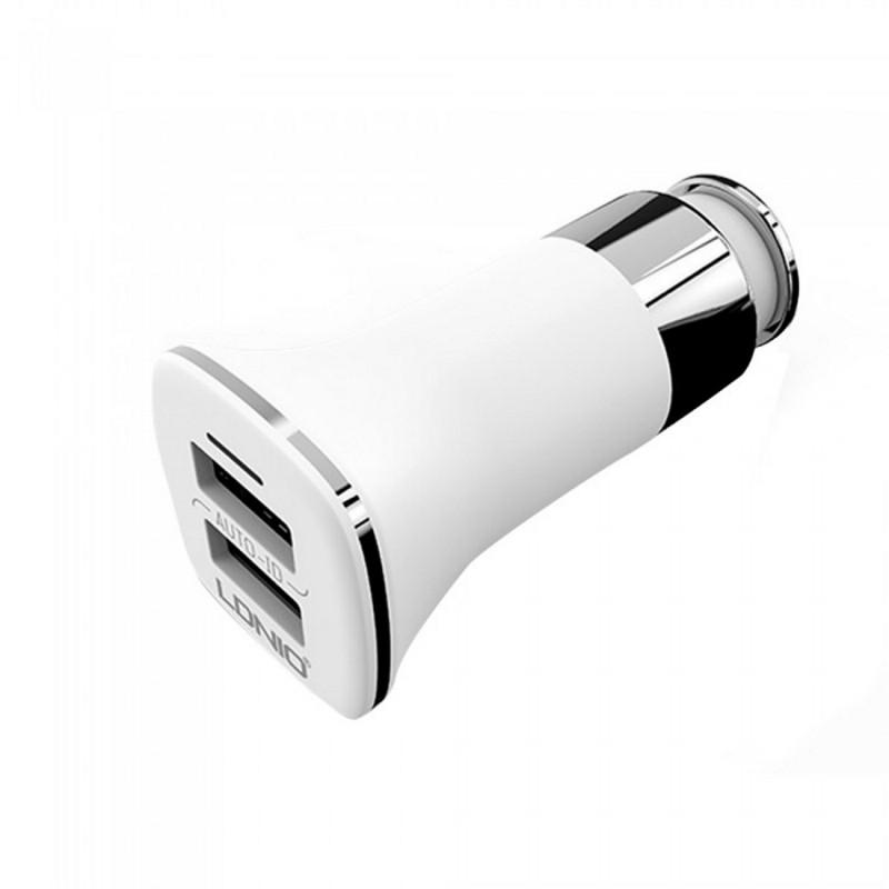 Автомобільний зарядний пристрій LDINIO C301+cable lightning New powerful charging ser. White